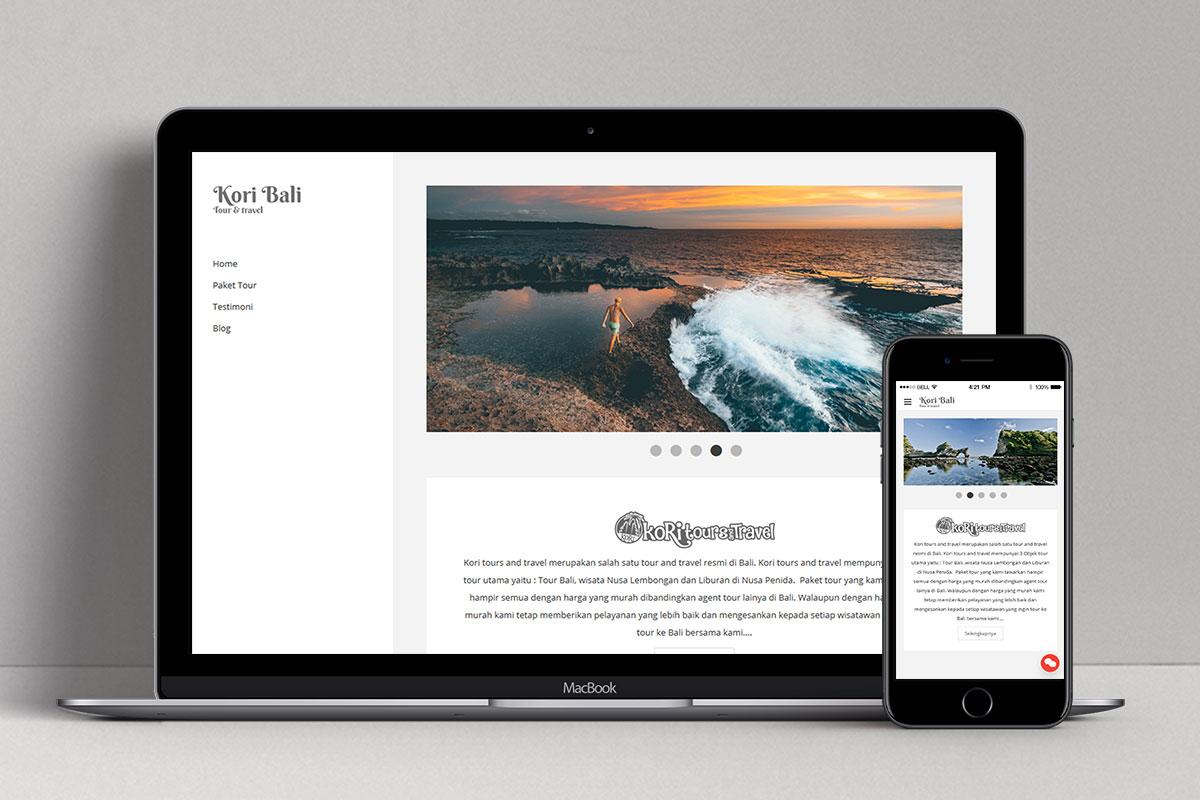 App Di Design kori tour & travel — bali website & graphic design, mobile